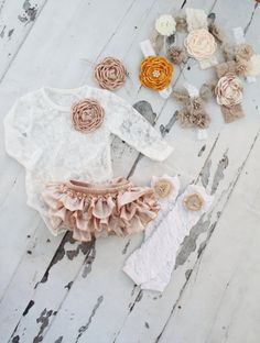 Easter Summer White Lace Bodysuit, Baby Girl Lovely Boho Chic Lace Bodysuit w Floral Clip, Champagne Bloomers, Birthday, Mommy & Me Baby Girl Fashion, Toddler Fashion, My Baby Girl, Baby Girl Newborn, White Lace Bodysuit, Ruffle Diaper Covers, Baby Olivia, Cute Baby Clothes, Holiday Outfits