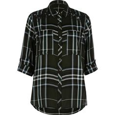 River Island Khaki check relaxed shirt (£48) ❤ liked on Polyvore featuring tops, khaki, shirts, women, sleeve shirt, lace top, relax shirt, button front shirt and lacy tops