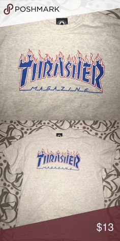 Thrasher tee Thrasher gray tee with blue flame lettering Zumiez Shirts Tees - Short Sleeve