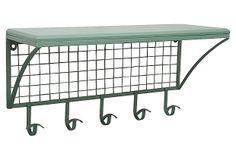 Industrial Green Wall Shelf w/ Hooks on OneKingsLane.com