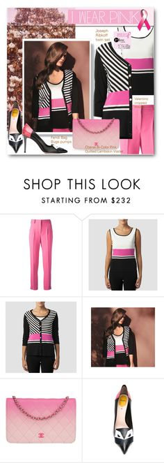 """I Wear Pink In October"" by beebeely-look ❤ liked on Polyvore featuring Valentino, Joseph Ribkoff, Chanel, Fendi, pinkribbon, IWearPinkFor, premiereavenue and JosephRibkoff"