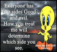 Ka-peeshh? Cartoon Quotes, Funny Quotes, Yes I Did, Good And Evil, Shut Up, Alter Ego, Looney Tunes, Good Advice, Tweety