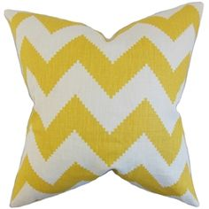 "Deliver a contemporary vibe to your bedrooms and living rooms with this graphic decor piece. This throw pillow features a playful zigzag pattern in shades of yellow and white. A perfect transitional piece, this 18"" pillow combines well with solids and other patterns. Made of 100% high-quality linen fabric. Crafted in the USA. $55.00 #zigzagpillow  #pillows  #homedecor  #interiorstyling  #throwpillow  #zigzag  #yellowpillow"