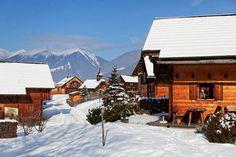 Winterurlaub mit Hund im Nationalpark Hohe Tauern in Kärnten. Die Ferienhäuser des Landguts Moserhof im Winter.