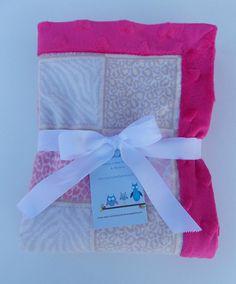Pink Leopard/Pink heart Minky Baby by DarlenesNeedlesnPins on Etsy