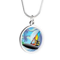 Windsurfer on Ocean Waves on CafePress.com Silver Pendant Necklace, Sterling Silver Pendants, Popular Necklaces, Windsurfing, Round Pendant, Silver Rounds, Ocean Waves, Necklace Designs, Gifts