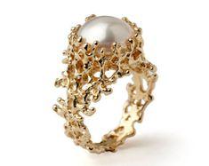 CORAL Black Pearl Ring Black Pearl Engagement Ring Rose by arosha