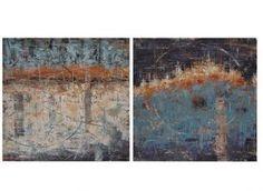 """Sada 2 nástěnných dekorací """"Elise"""", 3 x 70 x 70 cm Terracota, Painting, Wall, Shop, Home Decor, Abstract, Blue Nails, Homemade Home Decor, Painting Art"""