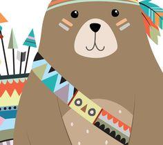 Bear Print Bear Wall Art Woodland Bear Woodland Animal
