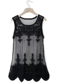 Baroque Embroidery Black Mesh Top//