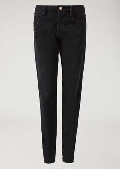 Emporio Armani Denim Jeans With Decorative Studs - Black 33 Ripped Jeans Men, Denim Skinny Jeans, Slim Jeans, Black Jeans, Armani Men, Emporio Armani, Armani Logo, Best Jeans, Jeans Brands