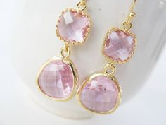 Clear pink earrings Gold and pink glass earrings.