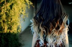 ombre to white...I really like the ombré trend for hair and plan on doing mine, but this is too much for me, I was thinking more like the dark golden blonde.