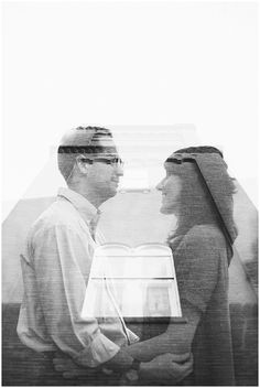 Unique Black and White Double Exposure Couple Portrait Church Silhouette | Downtown Suffolk, VA | Virginia Photographers | Rowlands Photography