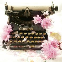 Vintage Typewriter Photograph, Cherry Blossoms, Nostalgic Fine Art Photo, Home Decor, Wall Art Corona Typewriter, Antique Typewriter, Typewriter Keys, Objets Antiques, Shabby Chic, Decoupage, Vintage Typewriters, Vintage Cameras, Writing