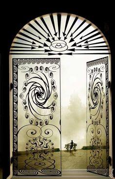 Windows and doors . The door - the border. Behind the door - another room, another space. Art Nouveau, Art Deco, Cool Doors, Unique Doors, Portal, Entrance Doors, Doorway, Porte Cochere, When One Door Closes