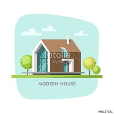 Vettoriale: Modern house. Vector illustration for your design and Infographic template.