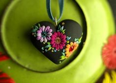 by Jennifer Morris, sweet mexican embroidery - vintage inspired heart pendant. $53.00, via Etsy.