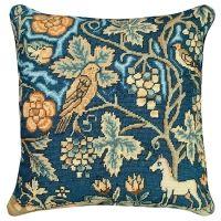 Needlepoint English Tapestry Unicorn / Bird Pillow