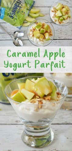 These simple caramel apple parfaits need only 4 ingredients and are perfect for a healthy snack or breakfast that kids can easily assemble themselves! Recipes Appetizers And Snacks, Quick Snacks, Healthy Appetizers, Healthy Treats, Snack Recipes, Desserts, Vegetarian Breakfast, Healthy Breakfast Recipes, Breakfast Ideas