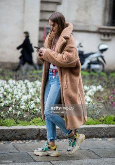 Carlotta Oddie wearing Max Mara coat seen outside Blumarine during Milan Fashion Week Fall/Winter 2018/19 on February 23, 2018 in Milan, Italy.