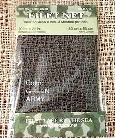 MINIATURE KNOTTED NET... The real thing ...Just smaller.  Camo: 1/6 scale for your Military display.  Marie-Jo Quinault at FILET LACE BY THE SEA  www.Filet Lace.Net