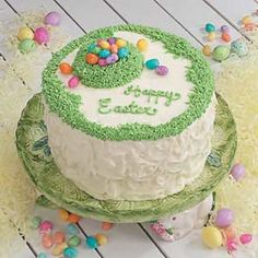 Poppy Seed Easter Cake Recipe Desserts, Afternoon Tea with butter, sugar, eggs, sour cream, milk, lemon juice, grated lemon peel, vanilla extract, all-purpose flour, baking powder, baking soda, salt, poppy seeds, frosting, cream cheese, soften, butter, confectioners sugar, milk, color food green, jelly beans