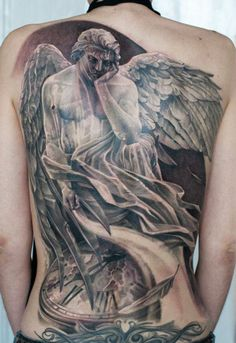 Realistic black and gray Religious tattoo art by Artem Pelipenko Creative Tattoos, Cool Tattoos, 3d Tattoos, Steve Butcher Tattoo, Angel Back Tattoo, Sad Angel, Heaven Tattoos, Avengers Tattoo, Hyper Realistic Tattoo