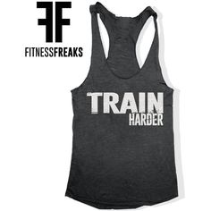 Train Harder Gym Fitness Soft Tri Blend Women's Racer Back Tank Top... ($18) ❤ liked on Polyvore featuring activewear, activewear tops, black, tanks, tops, women's clothing, workout shirts, logo shirts, distressed shirt and screen print shirts