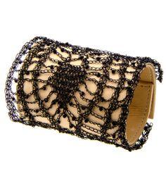 Colette Malouf Leather #Crochet Geometric Bracelet - #ColetteMalouf #handmade wire crochet