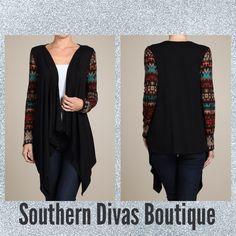 Black Multi Sleeve Cardigan $40.50 Available at Southerndivasboutique.com
