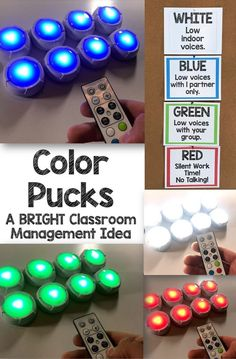 Classroom Management, Color-Changing, Remote-Control Puck Lights - - Keep reading to find out how color-changing, remote-control puck lights will help with your classroom management and prevent LOUD voices! Classroom Hacks, 5th Grade Classroom, Middle School Classroom, New Classroom, Classroom Setting, Classroom Organization, Creative Classroom Ideas, Classroom Money, Classroom Supplies