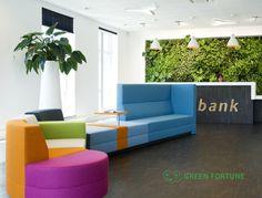 Green Fortune plantwall / vertical garden in retail space (banking).
