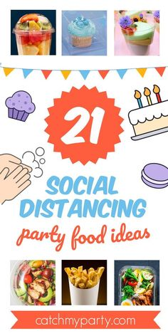 Here at Catch My Party, we get asked a lot about the safest ways to serve food at a party during social distancing. We've come up with 21 social distancing party food ideas to help you. See more party ideas and share yours at CatchMyParty.com #catchmyparty #partyideas #socialdistancing #socialdistancingparty #socialdistancingpartyfoodideas