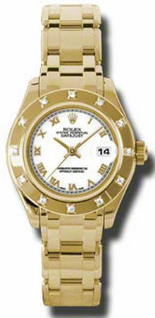 80318-PM  ROLEX OYSTER PERPETUAL LADIES DATEJUST PEARLMASTER LUXURY WATCH     Usually ships within 4 weeks - FREE Overnight Shipping - NO SALES TAX (Outside California) - WITH MANUFACTURER SERIAL NUMBERS- White Dial - Diamonds Set on Bezel   - Self Winding Automatic Movement- 3 Year Warranty- Guaranteed Authentic - Certificate of Authenticity- Polished with Brushed 18K Yellow Gold Case