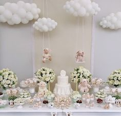 These clouds and swinging lambs are perfection for a baby shower....inspired...