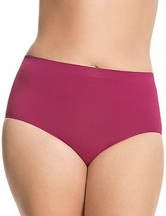 Our soft and stretchyseamless brief offers full coverageand flat seams for asmooth fit that'svirtually invisible under clothing! Sits high on the natural waist. Tag free for added comfort. <br /> <br /> Cacique plus size tag free panties lend comfort and beauty to your full figure! For panties in the latest colors & styles, nobody fits you like Cacique! lanebryant.com