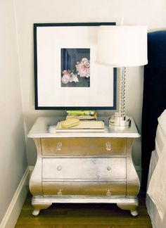 silver or gold leaf night stands, definitely a bit of glam, c/b nice feminine touch to a simple bedroom