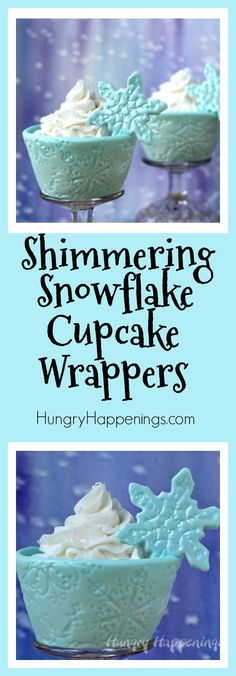 Add a little extra pizazz to your holiday cupcakes and make them look like you just picked them up from being in the snow. These Shimmering Snowflake Cupcake Wrappers will cool off these delicious hot desserts.