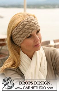 """Knitted DROPS head band with cables and rib in """"Nepal"""". ~ DROPS Design"""