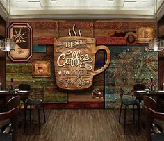 Custom Mural Wallpaper Abstract Art Coffee Retro Cafe Restaurant Wall Papers Creative Backdrop Wall Decor Papel De Parede 3 D Vintage Coffee Shops, Vintage Cafe, Cafe Interior Design, Cafe Design, Deco Cafe, Design Food, Design Ideas, Coffee Shop Design, Coffee Poster