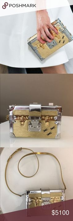 9c9dc6becb34 LOUIS VUITTON petite malle gold&silver like new!! with dustbag Louis  Vuitton Bags Clutches &