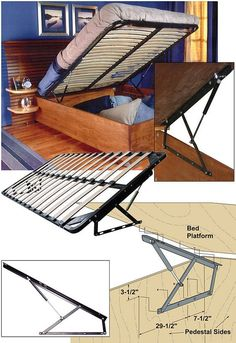 Woodworker.com: STORAGE BED FRAME AND LIFT KITS Queen with bed platform 362.94 incl shipping.
