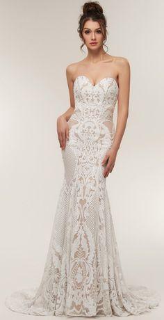 1be2c4b695 Ruolai Strapless Sweetheart Neck Special Sequined Mermaid Evening Dress  Wedding Gowns WhiteNude 10