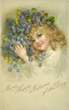 I ❤ vintage ephemera . Girl holding blue forget-me-nots. Designed in England, Chromographed in Germany Circa 1904 ~F. Éphémères Vintage, Vintage Ephemera, Vintage Paper, Vintage Postcards, Vintage Prints, Birthday Postcards, Vintage Birthday Cards, Vintage Greeting Cards, Vintage Pictures