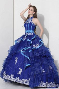 b97b8487198   USD  299   Cute Ball Gown High Neck Court Train Organza Royal Blue  Quinceanera Dress COJT13001