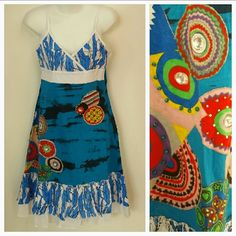 """""""Sail away"""" Urban Chic patchwork dress NWT Brand New tags Sail away in this Urban chic patchwork dress!! Gorgeous dress with rhinestones, beads and threaded details. Multi color materials. Lovely ruffle details at the bottom.  Adjustable straps. Approximately 38 inches but link will vary depending on where you adjust the straps. 100%cotton Dresses"""