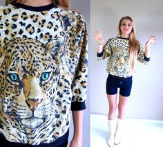 vtg 80s GIANT LEOPARD FACE sparkle Batwing by TigerlilyFrocks