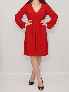 Short Red Dress Day dress Long sleeve dress by KSclothing on Etsy, $35.00