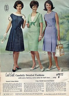 1965 Carefully Detailed Fashions I love that navy dress with the white collars and cuffs! 1960s Dresses, Vintage Dresses, Vintage Outfits, 1960s Fashion, Vintage Fashion, Fashion 2020, Vestidos Retro, Moda Retro, Mode Vintage